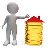Einsparungens-Geld stellt Real Estate- und Wohnungs-3d Wiedergabe dar Stockfotos