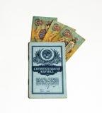 Einsparungensbuch und Banknoten der Sowjetunions Stockbilder