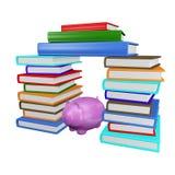 Einsparungs-Sparschwein in den Stapeln Büchern Stockfotos