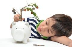 Einsparungsgeld des kleinen Jungen im Sparschweingeld stockbilder