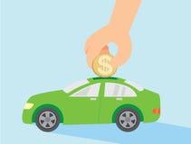 Einsparungsgeld für Kaufauto Lizenzfreies Stockfoto