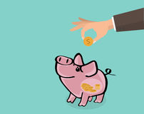 Einsparungsgeld im Geschäft stock abbildung
