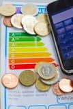 Einsparungsgeld wegen des Energieeffizienzkonzeptes Stockbild