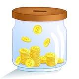 Einsparungsgeldglas Auch im corel abgehobenen Betrag Stockbilder