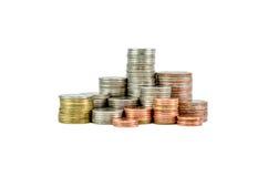 Einsparungsmünze, lokalisierte Münze, thailändisches Bad Stockbild