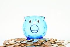 Einsparungsschwein, das auf vielen Geld steht Stockfotografie