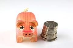Einsparungsschwein und -münzen Lizenzfreies Stockfoto
