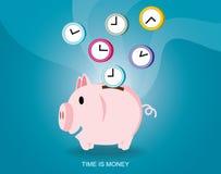 Einsparungszeitdesign Zeit ist Geld Sparschwein-Vektor-Illustration Lizenzfreie Stockfotos