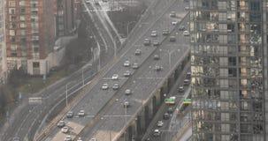 Einspieler Gardiner Expressways in im Stadtzentrum gelegenem Toronto stock footage