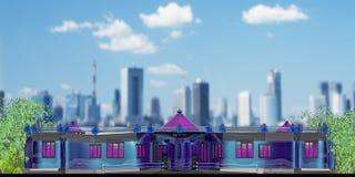 Einstöckiges öffentliches Gebäude des Projektes Stockbilder