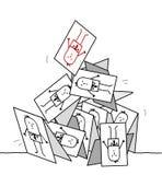 Einstürzenkartenpyramide Stockfotografie