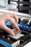 Einstecken von CPU, Prozessor in das Motherboard stockfoto