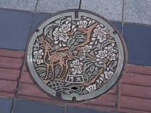 Einsteigelochabflussabdeckung auf der Straße in Nara, Japan Stockfotos