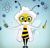 Einstein Bee. Vector Funny Einstein Bee Cartoon on blue background royalty free illustration