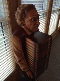 Einstein Carving. CD holder wood carving at a cottage Stock Image