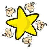 Einstein die rond een ster lopen stock illustratie