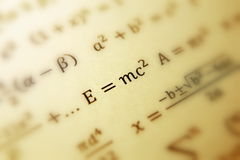 Einstein formula of relativity. Math, numbers equation stock image