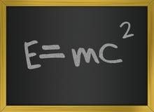 Einstein formula of relativity on blackboard. Illustration representing a physics formula stock illustration