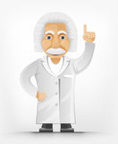 Einstein Idea. Cartoon Character Einstein Isolated on Grey Gradient Background. Idea. Vector EPS 10 stock illustration