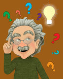 Einstein. With an idea holding up his finger and a light bulb stock illustration