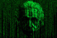 Einstein matrix style background consisting of symbols and numbers form a face resembling albert Einstein in matrix style. Illustration for print or website stock illustration
