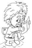 Einstein reading newspaper on toilet Royalty Free Stock Images