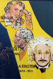Einstein, Schiller, Goethe drawed in Berlin Wall. Royalty Free Stock Photography