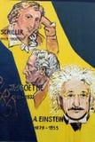 Einstein, Schiller, Goethe drawed in de Muur van Berlijn. Royalty-vrije Stock Fotografie