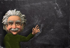 Einstein Scientist Illustration, Chalkboard Background. Einstein caricature or cartoon scientist illustration with a chalkboard background. Concept for YOUR TEXT stock illustration