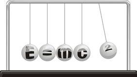 Einstein theory of relativity - newton`s pendulum. Newton`s cradle, kinetic energy, physics formula, conservation of momentum Royalty Free Stock Images