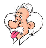 Einstein tongue cartoon Stock Images