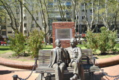 Einstein and Vaz Ferreira. Statue of Albert Einstein and Carlos Vaz Ferreira, conmemorating the visit of the Stock Photography