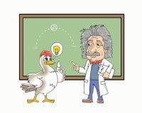 Einstein y una historieta del pollo fotografía de archivo libre de regalías