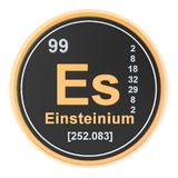 Einsteinium Es chemical element. 3D rendering. Isolated on white background royalty free illustration