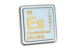 Einsteinium Es, chemical element sign. 3D rendering Royalty Free Stock Photo