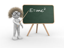 Einsteins theory. 3d people - human character pointing on backboard - Einsteins theory of relativity. This is a 3d render illustration Royalty Free Stock Photos