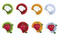 Einstellen-von-Vektor-Aufkleber-mit-Chef-Hut-und-Apfel Lizenzfreies Stockfoto