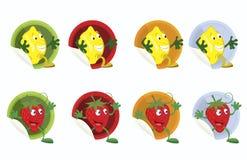 Einstellen-von-Vektor-Aufkleber-mit-Zitrone-und-Erdbeere Lizenzfreies Stockbild