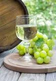 Einstellung im Freien eines Glases Weins und grüner Trauben Lizenzfreie Stockbilder