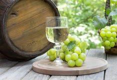 Einstellung im Freien eines Glases Weins und grüner Trauben Stockbilder