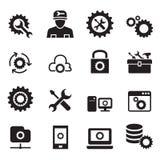 Einstellung, Konfiguration, Einrichtung, Reparatur, abstimmender Ikonensatz Stockbilder
