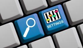 Einstellungen online Stockbild