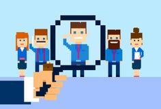 Einstellungs-Handzoom-Lupen-Sammeln-Geschäft Person Candidate People Group Stockfotos