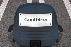 Einstellungspersonal-Konzeptplakat Text KANDIDAT B?rostuhl auf markierter Rollbahn oder Landstra?e in Anfangsposition Auto Identi vektor abbildung