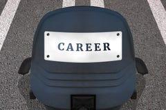 Einstellungspersonal-Konzeptplakat Text KARRIERE B?rostuhl auf markierter Rollbahn oder Landstra?e in Anfangsposition Auto Identi vektor abbildung
