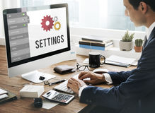Einstellwerkzeug-Einrichtungs-System-Konzept Stockfotografie