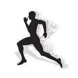 Einsturzschattenbild des laufenden Athleten Stockfoto
