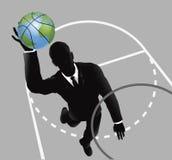 Eintauchender Basketball des Geschäftsmann-Knalls Stockfotos