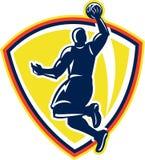 Eintauchender zurückprallender Ball Basketballer Retro- stock abbildung