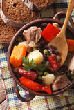 Eintopf soup with chicken, pork and sausage closeup top vertical Royalty Free Stock Images
